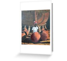 Owambo girl with grain store and beer pots Greeting Card