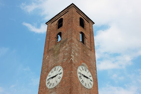 Antique Clock Tower on Blue Sky Background by kirilart