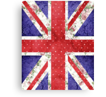 Vintage Red Polka Dots Floral UK Union Jack Flag Canvas Print