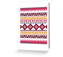 Red teal Aztec Tribal Diamond geometric Pattern Greeting Card