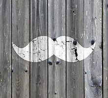 Funny vintage white mustache on gray wood by GirlyTrend