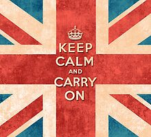 Keep Calm and Carry On Vintage Union Jack Flag by GirlyTrend