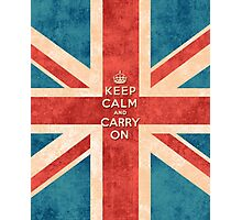 Keep Calm and Carry On Vintage Union Jack Flag Photographic Print