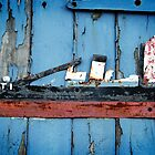 Folk Art Boat on a Blue Door by AndyLanhamArt