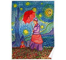 A Monet Woman on a Van Gogh Starry Night Poster