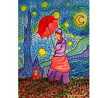 A Monet Woman on a Van Gogh Starry Night Photographic Print