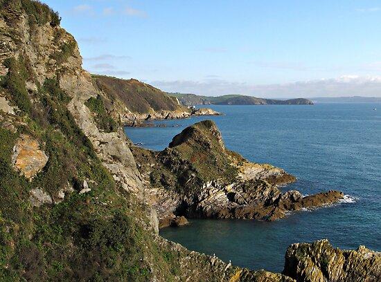 Cliffs in Cornwall near Mevagissey by kirilart