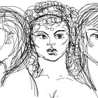 Drawing of Artemis, Aphrodite & Athena by Anthea  Slade