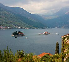 Panoramic view of Kotor Bay with the monastery by kirilart