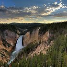 Yellowstone falls at sunset by Brian D. Campbell