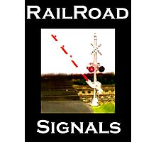 Railroad Crossing Signals And Railroad Tracks Photographic Print