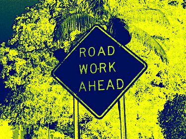 Road Work Ahead - Warhol Style Photography Print by WayfarerPrints