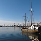 Old Ship in Calm Water Harbor by kirilart