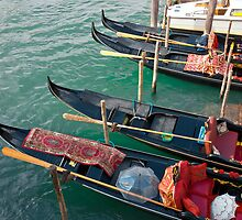 Gondolas waiting for tourists in Venice by kirilart