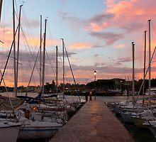 Marina in Desenzano del Garda sunrise by kirilart
