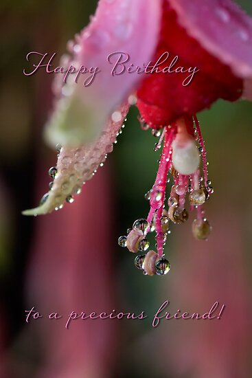 Fuchsia droplets birthday card by Celeste Mookherjee