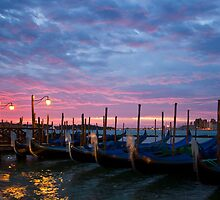 Romantic Venice Sunrise with Gondolas by kirilart