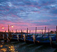 Romantic Venice Sunrise with Gondolas by kirilart