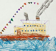 Kid's Drawing of a Passenger Ship in The Sea by kirilart