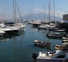 Naples Yacht Port with Vesuvius by kirilart