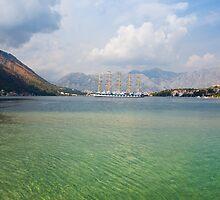 Sailing Ship in the Kotor Bay in Montenegro by kirilart