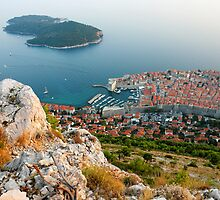 Panoramic view of the Old Town Dubrovnik and Island Lokrum by kirilart