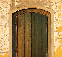 Old Wooden door with cracks on the wall by kirilart