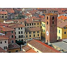 City View of Lucca with the Clock Tower Photographic Print