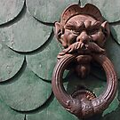 Vintage rusty door knocker in Pisa Italy by kirilart