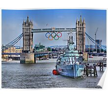 Olympic Rings  London 2012 - Tower Bridge Poster