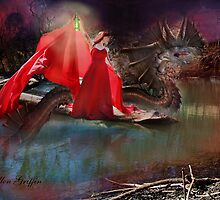 Lake Dragon and Lady in red by Ellen  Griffin