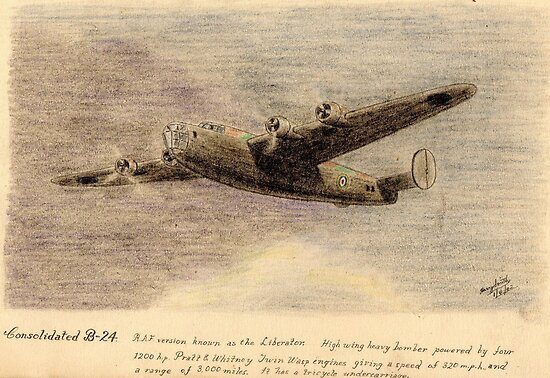 """Consolidated B-24 """"the Liberator"""" pencil sketch by ChrisNeal"""