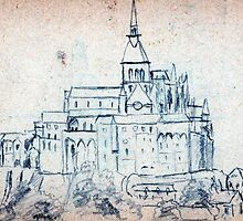 Mont Saint-Michel pencil sketch by ChrisNeal
