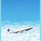 Plane through clouds by Wyattdesign