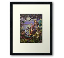 Krishna disguised as gopi Framed Print