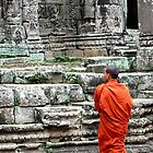 Monk at Temples, Cambodia by sarahgotts