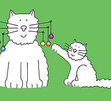 Cat with baubles on whiskers. by KateTaylor