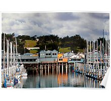 Monterey Boat Harbor and Old Fisherman's Wharf Poster