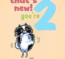 Kids Birthday Age 2 Pomeranian Card by offleashart