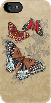 Butterflies on Brown Floral by SpiceTree