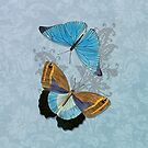 Butterflies on Blue Floral by SpiceTree