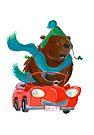 Bear in car by Sanne Thijs