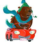 Bear in car by Sanne Thijs
