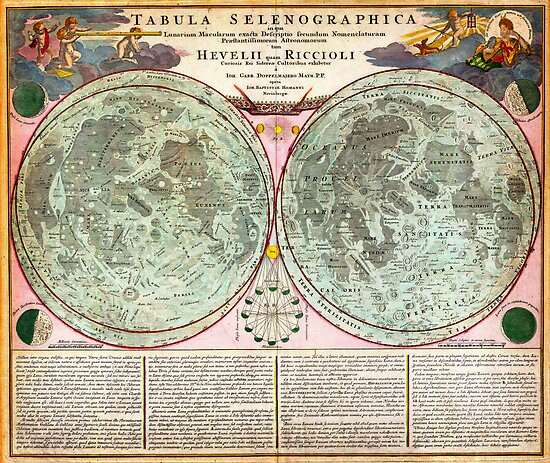 1707 Homann and Doppelmayr Map of the Moon Geographicus TabulaSelenographicaMoon doppelmayr 1707 by Adam Asar