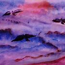 Seagulls fight the waves for fish, watercolor by Anna  Lewis