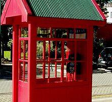 Red Telephone Box New Zealand by Sandra  Sengstock-Miller