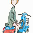 Girl on a Scooter  by AndyLanhamArt