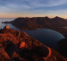 Evening Glow over Wineglass Bay - Frecinet Peninsula by Mark Shean
