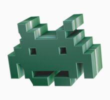 Green 3d Space Invader. by LewisJamesMuzzy