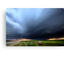 Storm Clouds over Saskatchewan country road Canvas Print